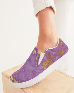 Ethereal | Purple Marble Women's Slip-On Canvas Shoe - Katrynthia Law
