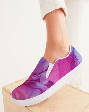 Ethereal | Pink Watercolor Women's Slip-On Canvas Shoe - Katrynthia Law