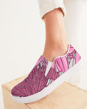Floral | Pink Leaves Women's Slip-On Canvas Shoe - Katrynthia Law