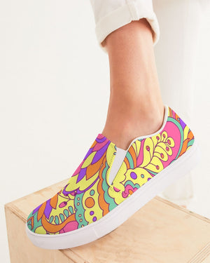 Psychedelic | Be Happy Women's Slip-On Canvas Shoe - Katrynthia Law