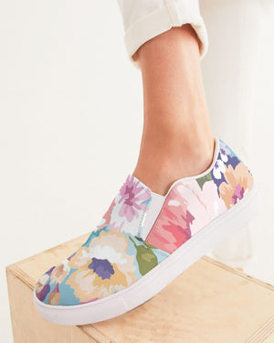Floral | Watercolor Blossoms Women's Slip-On Canvas Shoe - Katrynthia Law