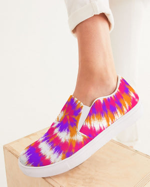 Tie Dye | Purple, Pink, Orange, White Women's Slip-On Canvas Shoe - Katrynthia Law