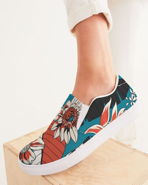 Floral | Turquoise Sun Women's Slip-On Canvas Shoe - Katrynthia Law