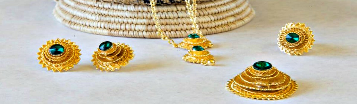Ethiopian and Eritrean jewelry set 18k Gold filled on copper metal ...