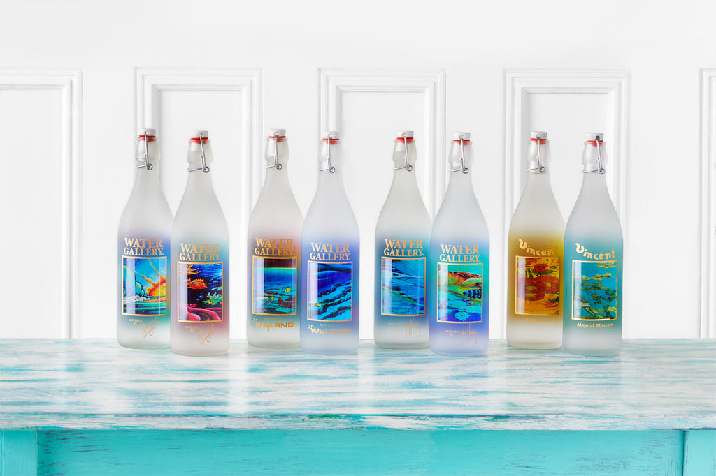 Gallery Drinkware's full bottle line up with Wyland, Guy Harvey, Drew Brophy, and Van Gogh art