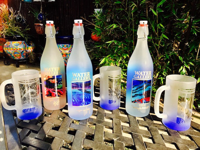 Gallery Drinkware, Wyland, glass bottle, glass beer mug, Wyland beer mug