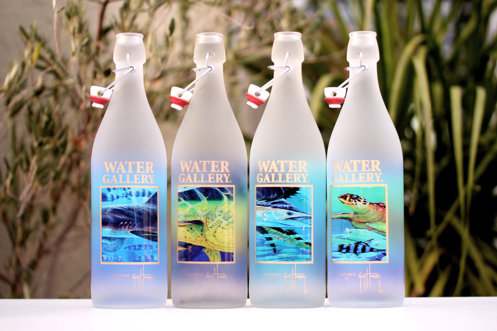 Gorgeous Gallery Drinkware glass water bottles featuring Guy Harvey art are not bottled water!