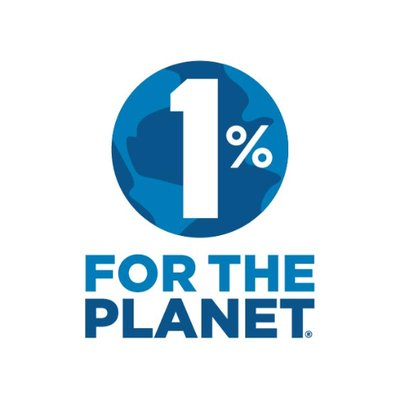 1% for the Planet Logo-- blue image of the earth with a large white 1% on top