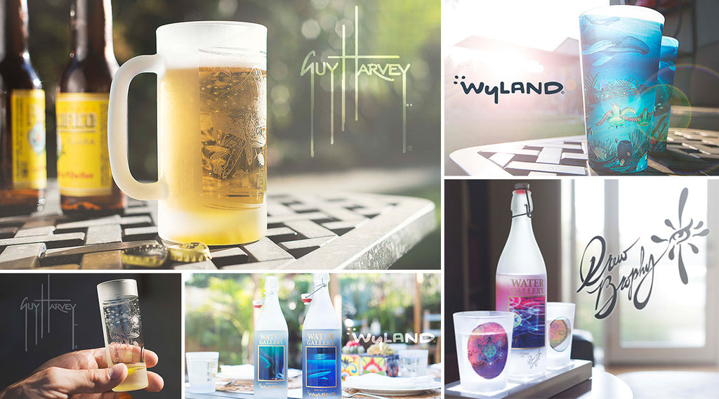 Gallery Drinkware, Water Gallery, Wyland, Guy Harvey, Drew Brophy, glass drinkware, pint glass, double old fashioned glass, shot glass, beer mug