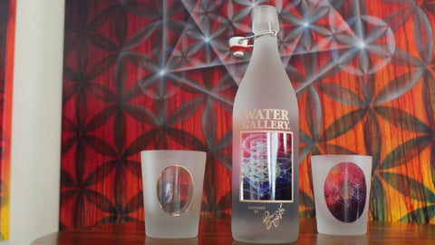 Drew Brophy sacred geometry art Metatron's Cube featured on our glass bottle and drinkware