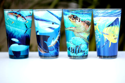 Set of four pint glasses featuring Guy Harvey's gorgeous marine life art for $30 ($30 savings!!)