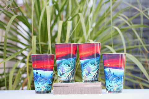 Four Wyland-inspired pint glasses for $50!