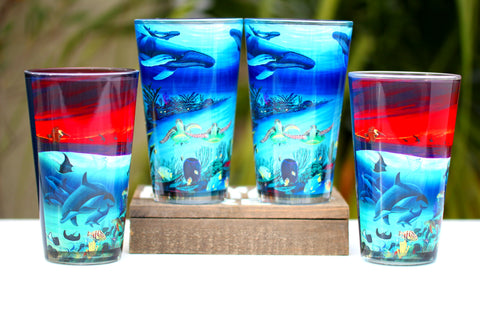 Set of four pint glasses featuring the amazing marine life art of Wyland for $30 ($30 savings!!)