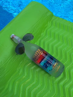 And some folks even let their Water Gallery glass water bottles relax at the pool...