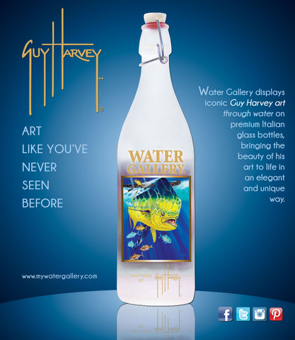 Water Gallery, glass water bottle, Golden Prize, Guy Harvey, dorado, bull dolpin, ocean, ocean art, sport fishing