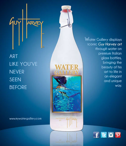 Water Gallery, glass water bottle, Spanish Sailfish, Guy Harvey, sailfish, ocean, ocean art, sport fishing