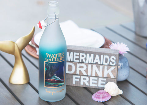 Gallery Drinkware's Wyland Mermaid & Turtle bottle