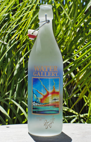 Drew Brophy's Sunrise painting on a glass bottle