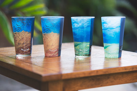 Van Gogh's Wheatfield with Crows and Wheatfield Under Thunderclouds pint glasses, matte and glossy versions