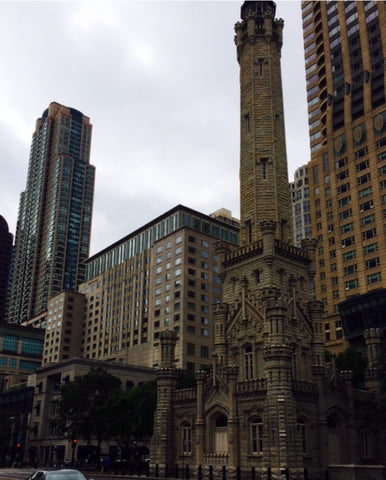 "The incredible ""old and new"" aspects of Michigan Avenue in Chicago-- the original Water Tower building juxtaposed with the modern skyscrapers"