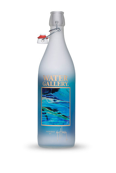 Guy Harvey Spanish Sailfish artwork decorated on a Bormioli Rocco 1 liter swing top bottle