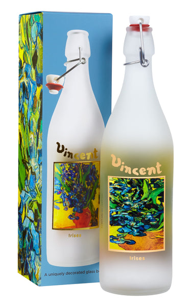 Van Gogh Irises Glass Bottle