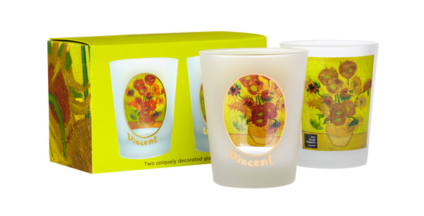Van Gogh Sunflower Double Old Fashioned Glasses With Box