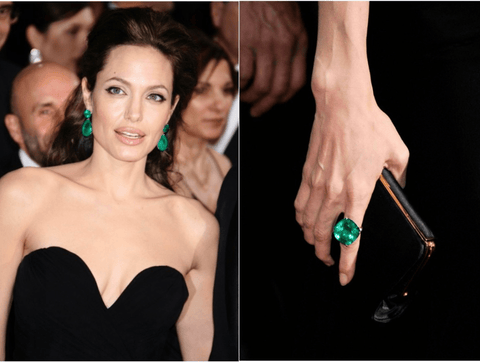 Angelina Jolie's Colombian Emerald Drop Earrings and Ring