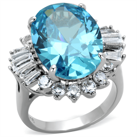 Aqua Blue Oval Crystal Cocktail Ring from Eternal Sparkles