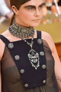 Cara Delevigne in Baroque Style Jewelry