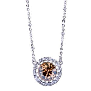 Champagne Solitaire Swarovski Elements Pendant Necklace