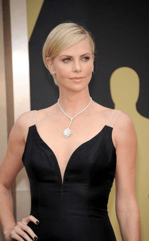 Charlize Theron's Diamond Cluster Pendant Necklace