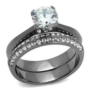 Clear Round CZ Light Black Bridal Ring Set from Eternal Sparkles