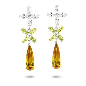 Daisy Cubic Zirconia Drop Earrings