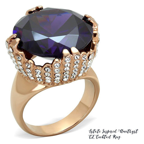 Estate-Inspired Amethyst CZ Cocktail Ring from Eternal Sparkles