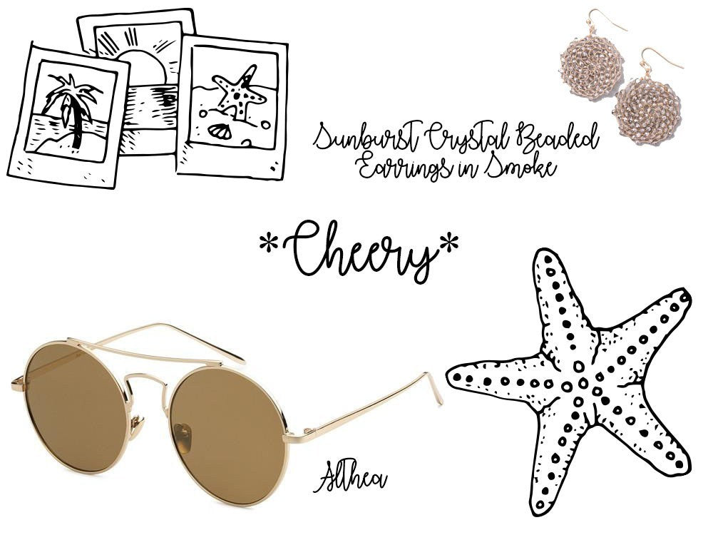 Eternal Sparkles Althea Sunglasses in Gold Frame and Yellow Lenses and Sunburst Crystal Beaded Earrings in Smoke