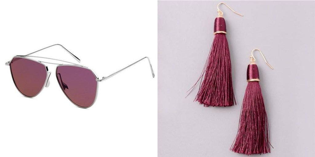 Eternal Sparkles Amelia Sunglasses and Classic Cord Tassel Earrings in Burgundy