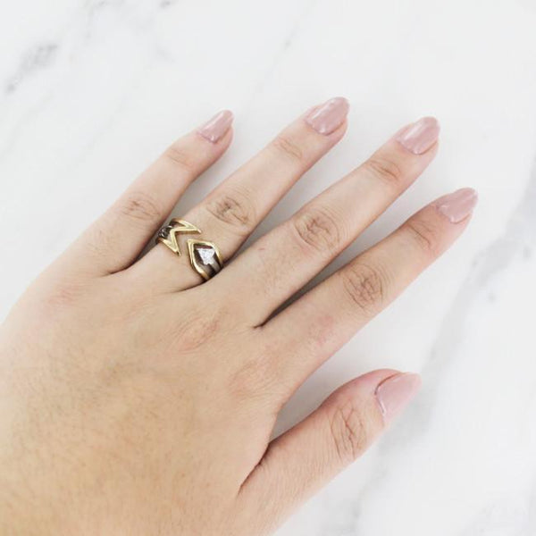 woman wearing Arrow Ring Set from Eternal Sparkles