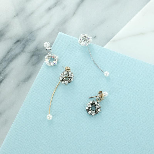 Eternal Sparkles Asymmetric Long Short Pearl Earrings