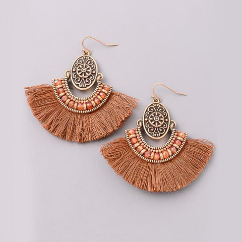 Bohemian Fan Chandelier Earrings in Brown from Eternal Sparkles