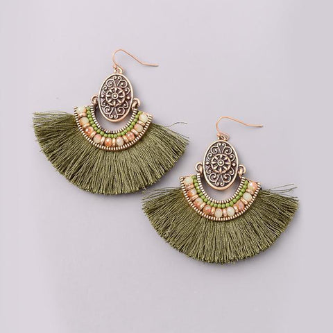 Bohemian Fan Chandelier Earrings in Olive from Eternal Sparkles