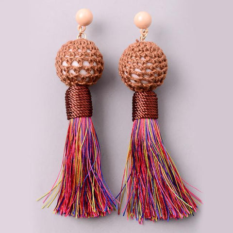 Boho Cord Bon Bon Tassel Earrings in Multi Colors from Eternal Sparkles