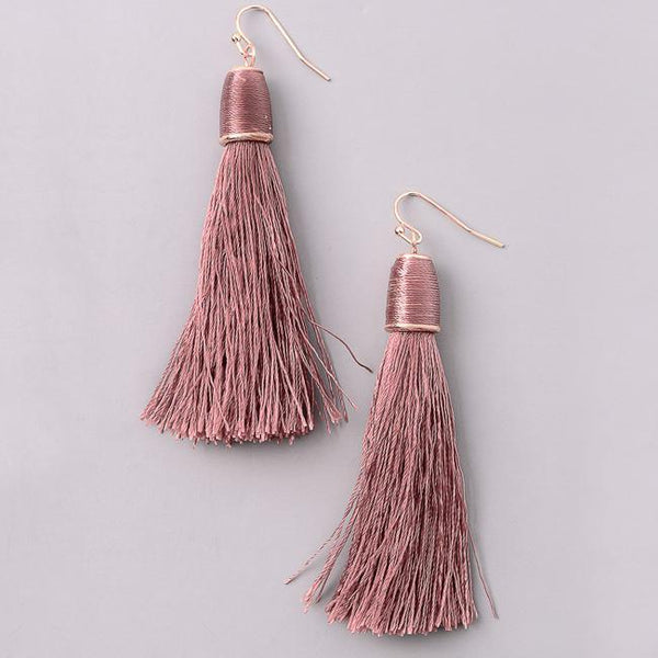 Eternal Sparkles Classic Cord Tassel Earrings in Mauve Pink
