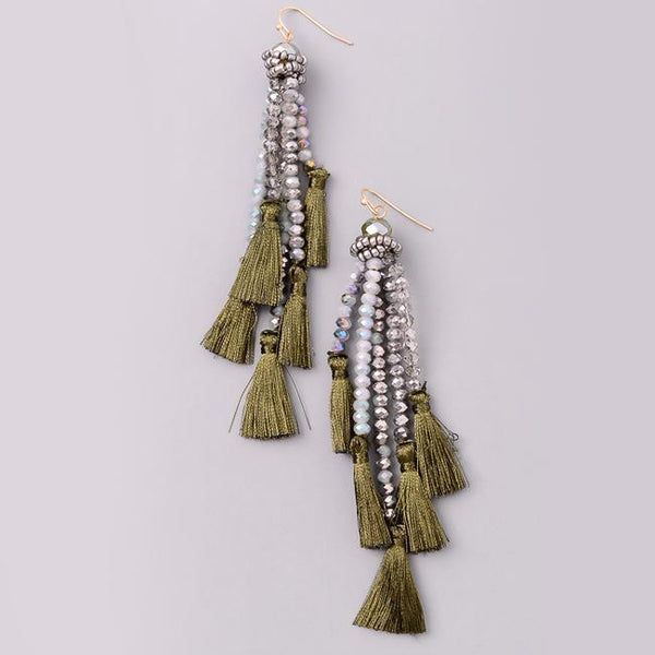 Eternal Sparkles Crystal Beaded Tassel Earrings