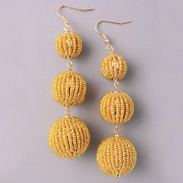 Eternal Sparkles  Dainty Beaded BonBon Earrings in Gold