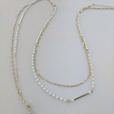 Eternal Sparkles Double Strand Pearl and Gold Bars Necklace