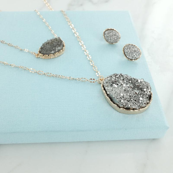 Eternal Sparkles Druzy Pendant Multistrand Necklace and Earring Set