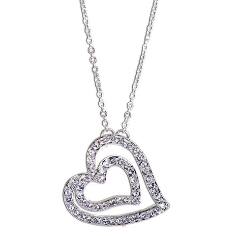 Dual Heart Pave Swarovski Elements Necklace from Eternal Sparkles