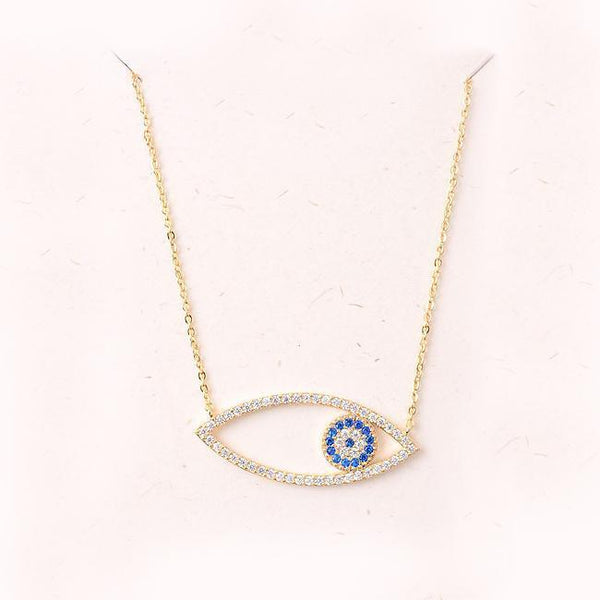 Eternal Sparkles Evil Eye Necklace in Gold