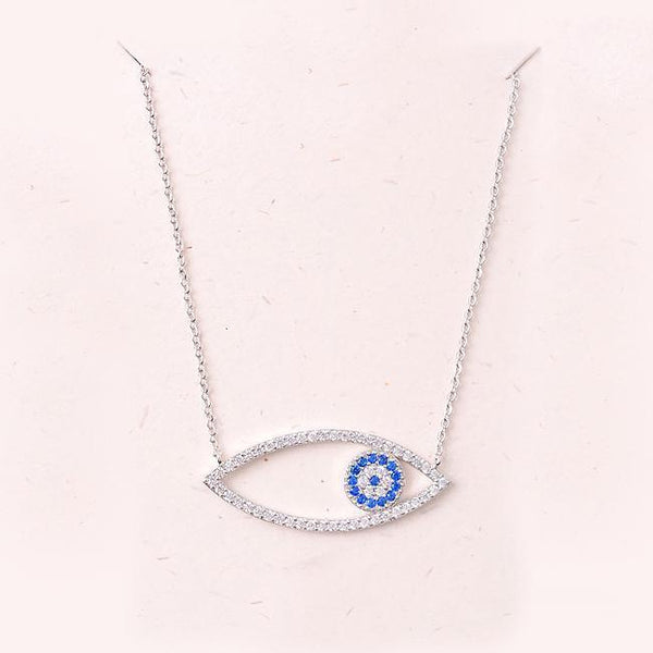 Eternal Sparkles Evil Eye Necklace in Silver